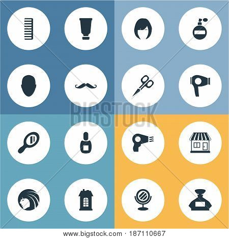 Vector Illustration Set Of Simple Hairdresser Icons. Elements Bottle, Peeper, Human And Other Synonyms Lady, Shop And Man.