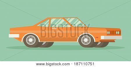 Muscle old car. Flat styled vector illustration