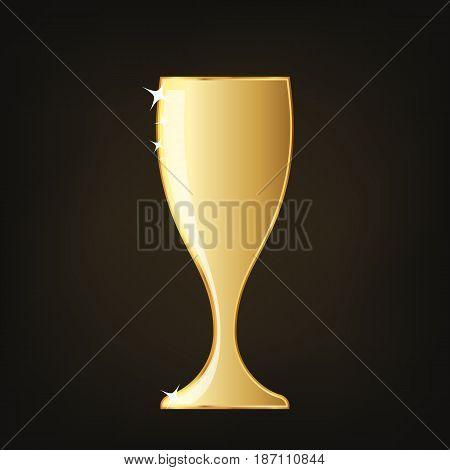 Golden wine glass icon. Vector illustration. Golden wine glass cup icon on dark background.