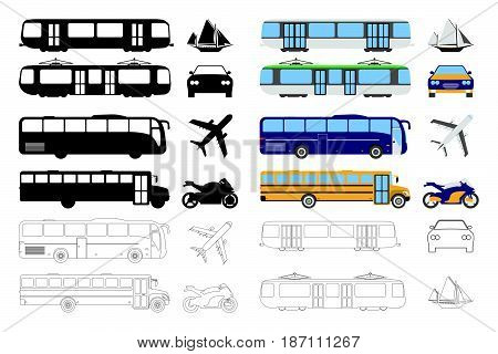 Set Of Flat Urban Transport Icon. Cartoon, Outline, Silhouette Vector Illustration