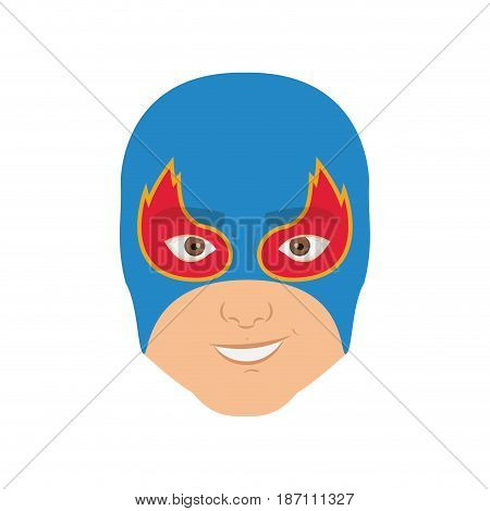 colorful silhouette with man superhero and middle mask and shape of flame around the eyes and without contour vector illustration