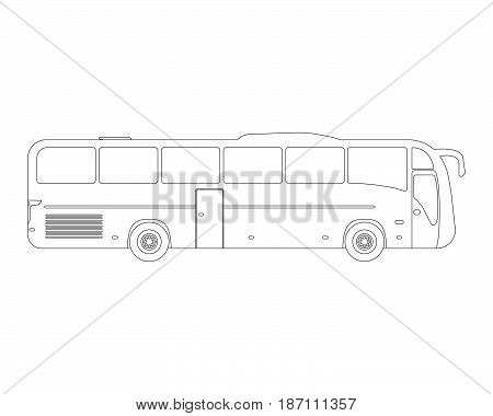 Bus Flat Icon And Logo. Outline Vector Illustration