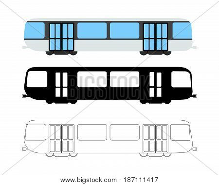 Set Of Flat Metro Icon. Cartoon, Outline, Silhouette Vector Illustration