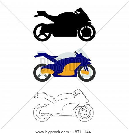 Set Of Flat Bike Icon. Cartoon, Outline, Silhouette Vector Illustration