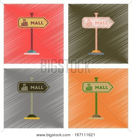assembly flat shading style icons of mall sign