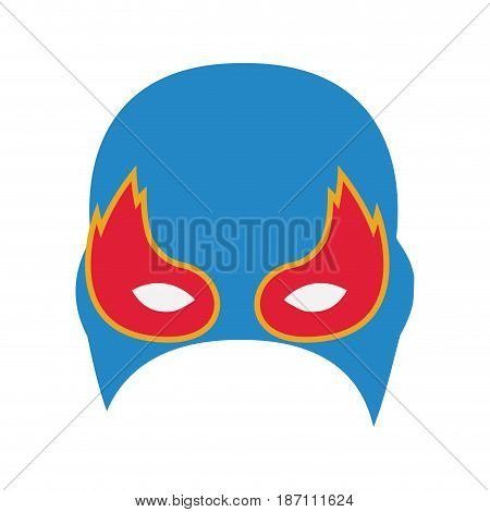 colorful silhouette with festive half mask with eyes in flame vector illustration