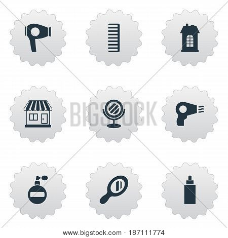 Vector Illustration Set Of Simple Barber Icons. Elements Peeper, Premises, Reflector And Other Synonyms Aroma, Machine And Hackle.