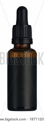 Black Serum Bottle Isolated On White Background