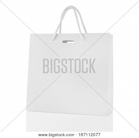 Blank Shopping Bag With Reflection Isolated On White Background