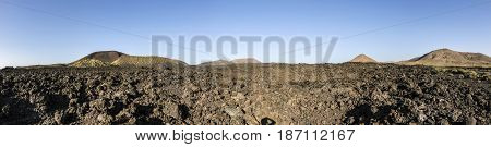 Volcanos In Timanfaya National Park Near Mancha Blanca