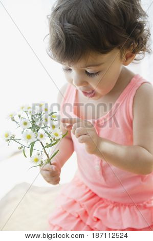 Mixed race girl looking at flowers
