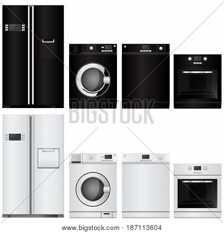 Home appliances. Set of household kitchen technics.electric Oven, Dishwasher, refrigerator, washing machine. Vector isolated on white background. Illustration.