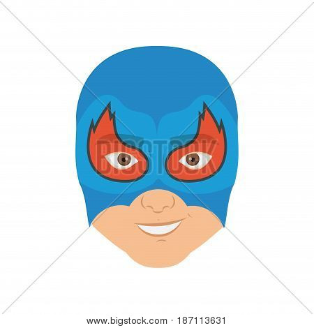 colorful silhouette with man superhero masked with flame around the eyes and without contour vector illustration