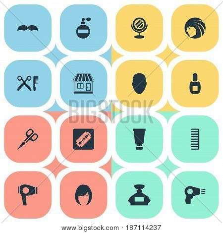 Vector Illustration Set Of Simple Beautician Icons. Elements Cut Tool, Shaver, Scent And Other Synonyms Hackle, Beautiful And Hair.