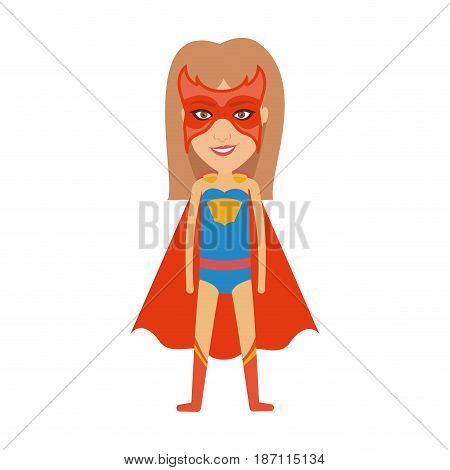 colorful silhouette with standing girl superhero with straight hair and without contour vector illustration