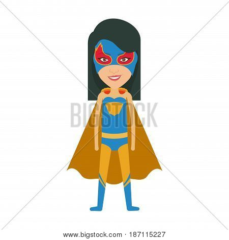 colorful silhouette with standing girl superhero with short straight hair and without contour vector illustration