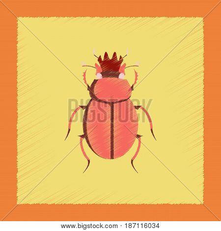 flat shading style illustration of bug scarab