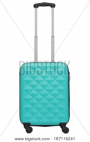 Cyan / Blue Plastic Suitcase Isolated On White Background