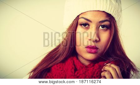 Mulatto Woman Wearing Warm Winter Clothing