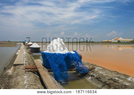Sea salt field in Thailand orange water before hydrating.