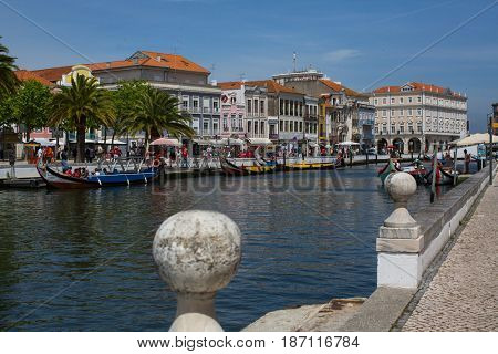 AVEIRO, PORTUGAL - MAY 16, 2017: One of the streets in the city centre. Aveiro, known as the Venice of Portugal, also known for its production of salt, which is used for fertilizer in the area.