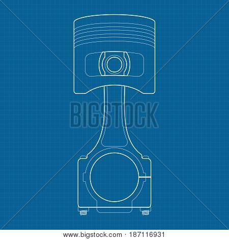 Piston. Outline icon. illustration on Blueprint Background.