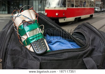Dynamite Bomb With Phone In Terrorist Bag On Street Of City