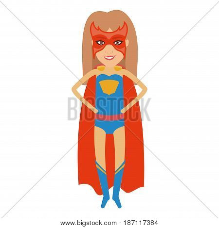 colorful silhouette with superhero woman flying with hands in your waist and without contour vector illustration
