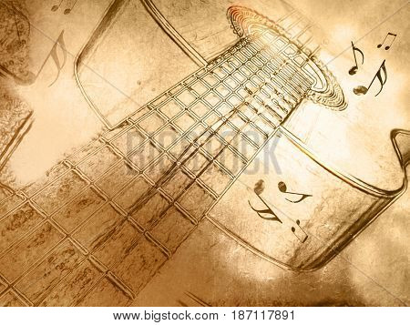 Retro music background with guitar in vintage drawing style