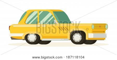Old car. Flat styled vector illustration with white background