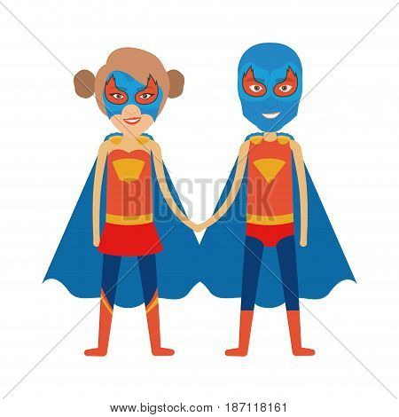 colorful silhouette with duo of superheroes united of the hands and her with collected hair and without contour vector illustration