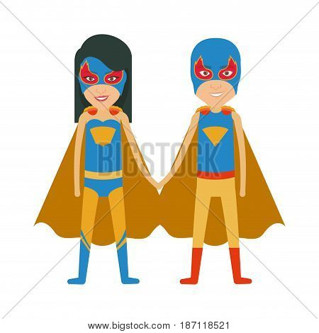 colorful silhouette with duo of superheroes united of the hands and her with straight long hair and without contour vector illustration