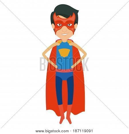 colorful silhouette with superhero young flying with hands in your waist and without contour vector illustration