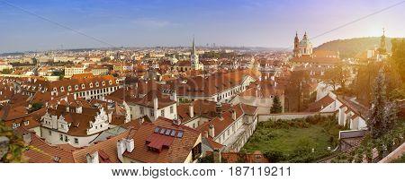 View of ancient roofs . Prague. Czech Republic