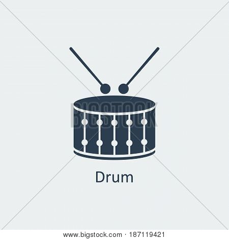 Drum icon. Musical symbol. Silhouette vector icon