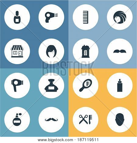 Vector Illustration Set Of Simple Hairdresser Icons. Elements Reflector, Supermarket, Blow Dryer And Other Synonyms Building, Lady And Whiskers.