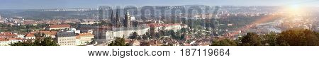 Prague Czech Republic. Panorama of the old city from the embankment and bridges through the Vltava River