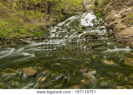 Dunnings Springs Waterfall - A waterfall during springtime.