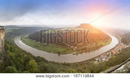 Outlook from castle Koenigstein in Saxony Germany
