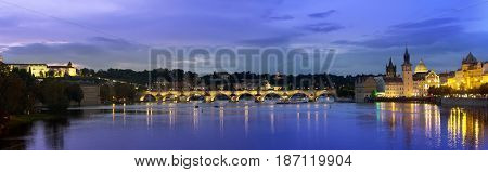 Beautiful Cityscape of Prague at night with Charles Bridge(Karluv Most) over Vltava river and Prague Castle Czech Republic
