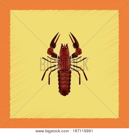 flat shading style illustration of seafood lobster