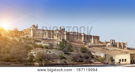 India. Jaipur. Amber fort in a sunny day