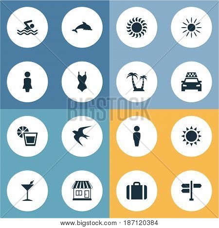 Vector Illustration Set Of Simple Seaside Icons. Elements Swallow, Woman, Male And Other Synonyms Beverage, Dolphin And Lemonade.
