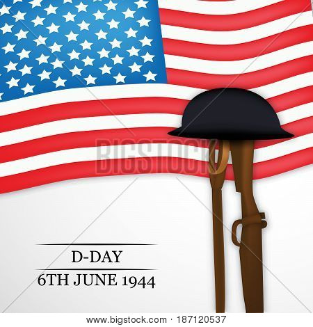 illustration of elements of US flag, hat, gun with D-Day 6th june 1944 text