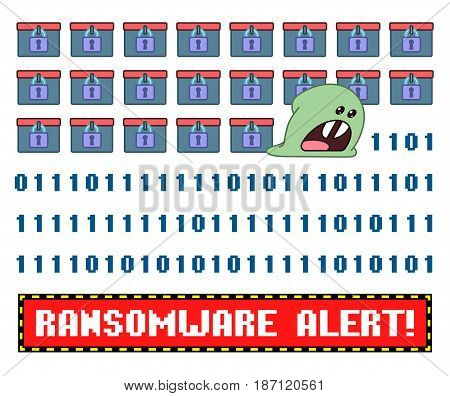 Ransomware virus encrypting the data wishing you pay to decrypt
