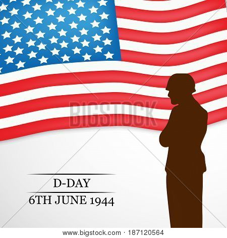 illustration of USA flag background with D-Day 6TH JUNE 1944 text