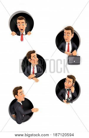 3d businessman coming through circular holes in wall illustration with isolated white background