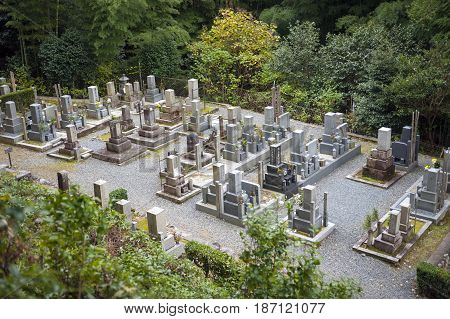 Kyoto Japan - November 2016: Japanese graveyard at Enkoji Temple in Kyoto Japan