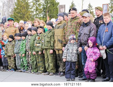 Kirishi, Russia - 9 May,  A detachment of teenagers in uniform,9 May, 2017. Holding a festive rally dedicated to the Victory Day.