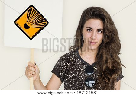 Studio Shoot Holding Banner with Explosion Attention Sign